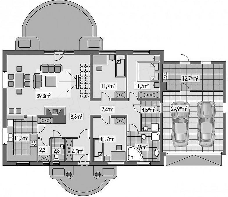 Projekt Domu Sielanka 2a 2 Garaze Ps 118 9 M2 Inspiracje Pl