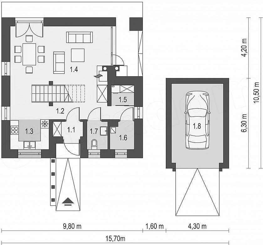 Projekt Domu Kwadrat 119 M2 Inspiracjepl